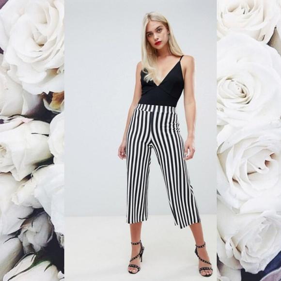 0bfc344c375fd Boohoo Pants | Black White Striped Culottes | Poshmark